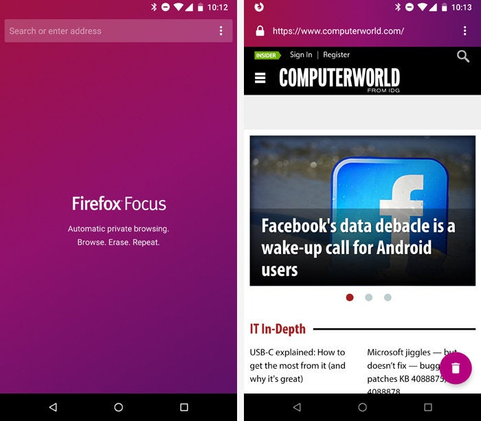Android Privacy Apps - Firefox Focus