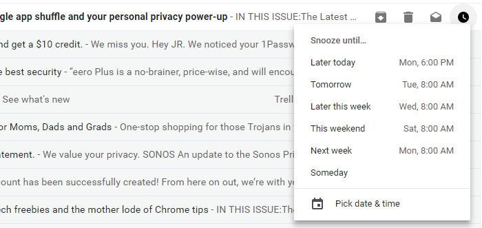 new Gmail - snooze email