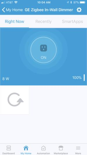 SmartThings user interface