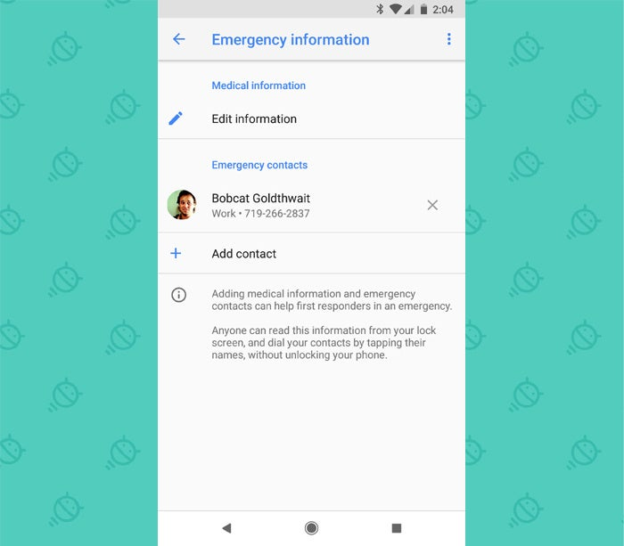 Android Security Settings: Emergency Contact