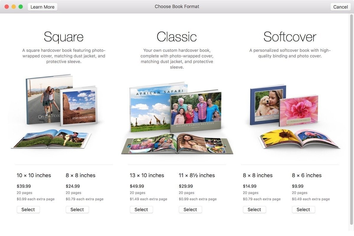 apple photo book format
