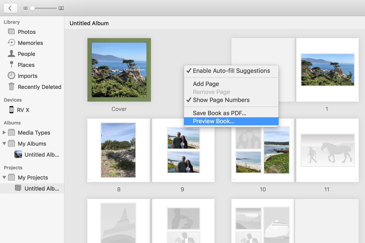 apple photo book preview
