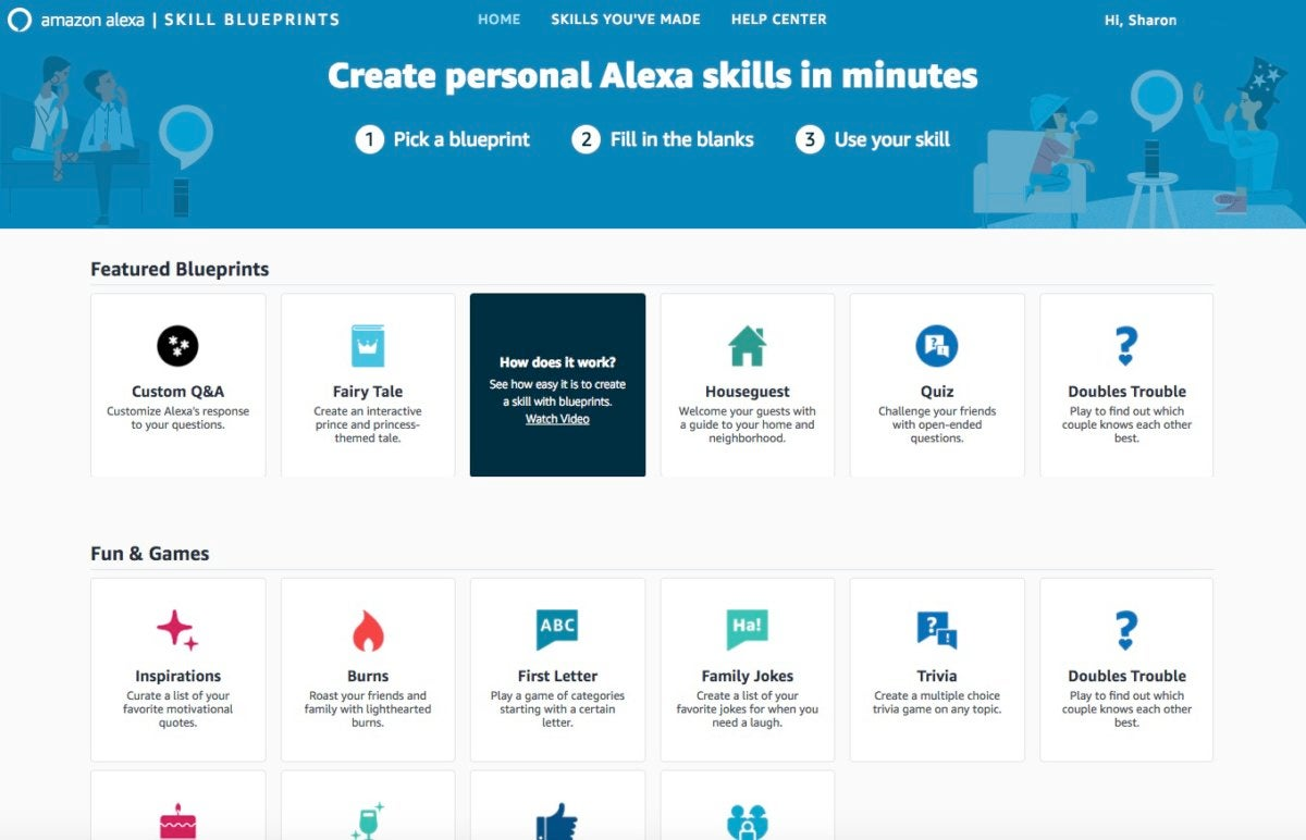 Alexa Skill Blueprint options