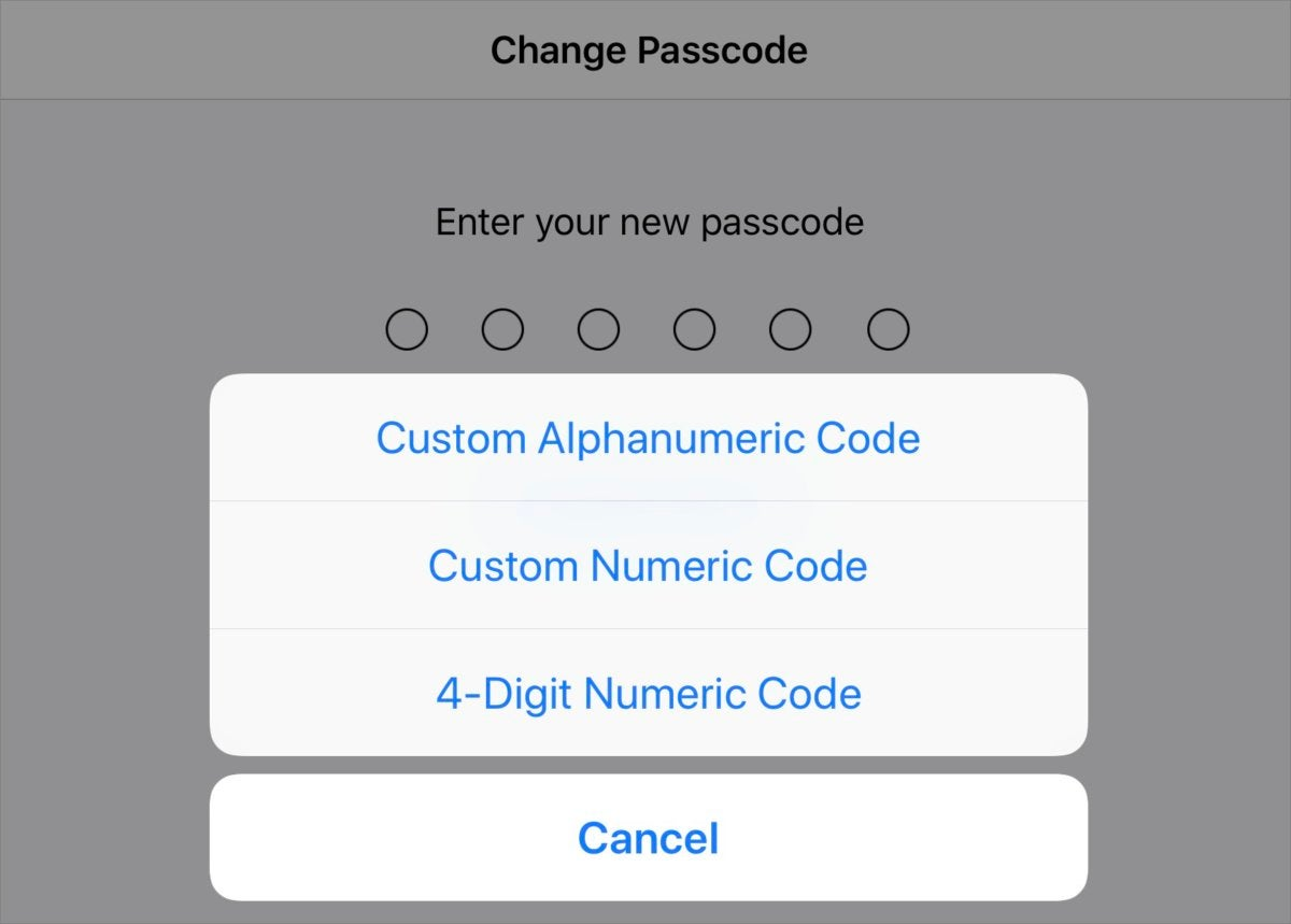 graykey set passcode options