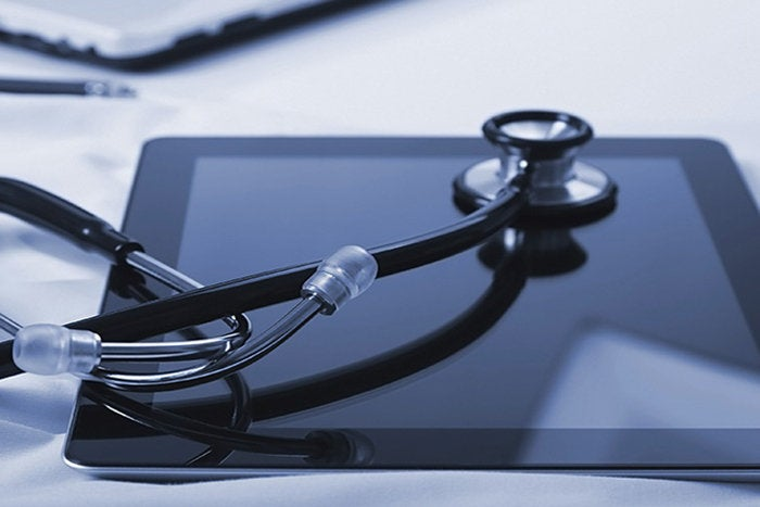 healthcare - stethoscope, tablet / digital health records