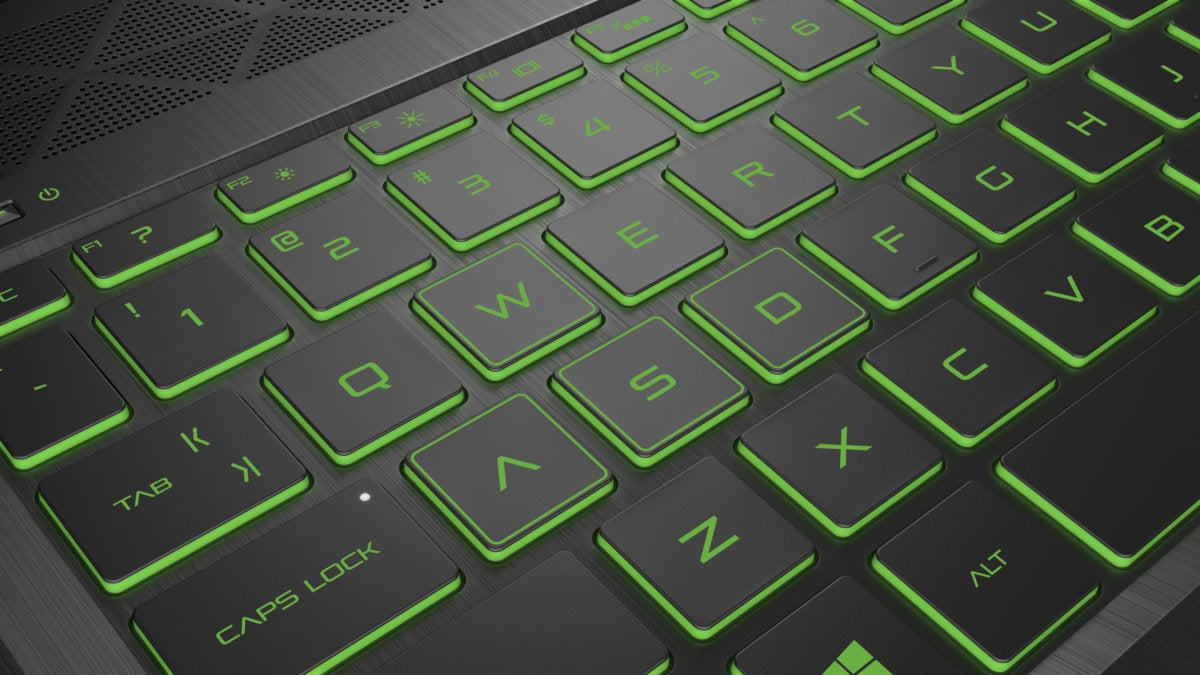 hp pavilion gaming laptop hero2 keys closeup acidgreen