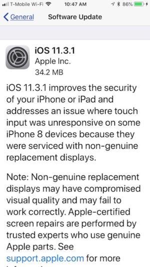 ios 11.3 1 update
