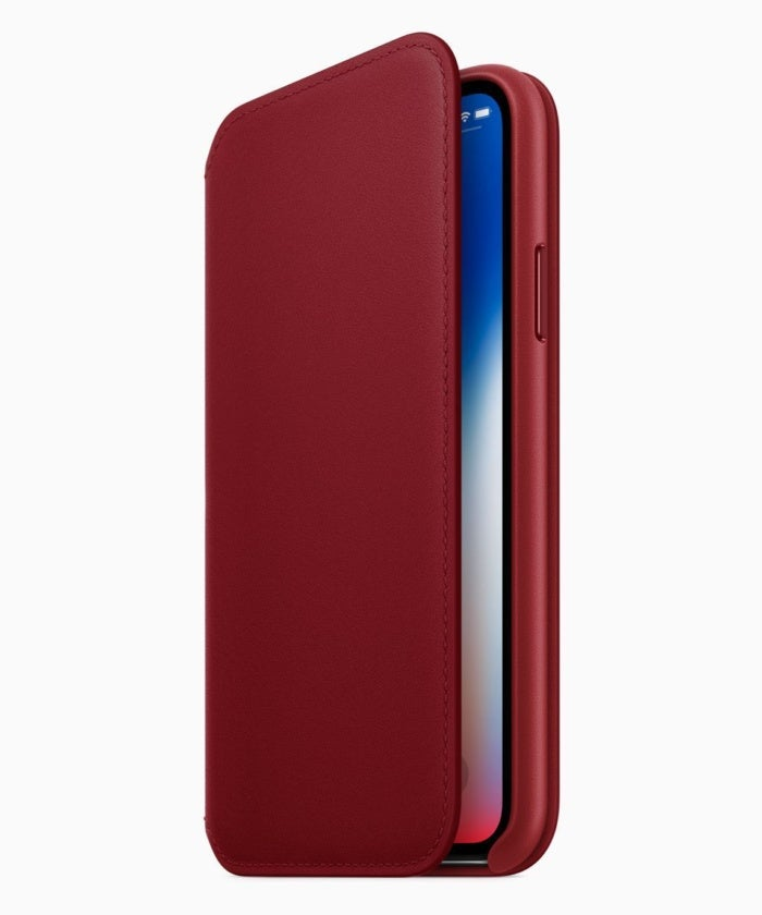 iphone x project red leather folio