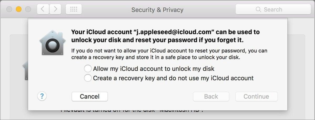 mac911 filevault recovery key icloud prompt