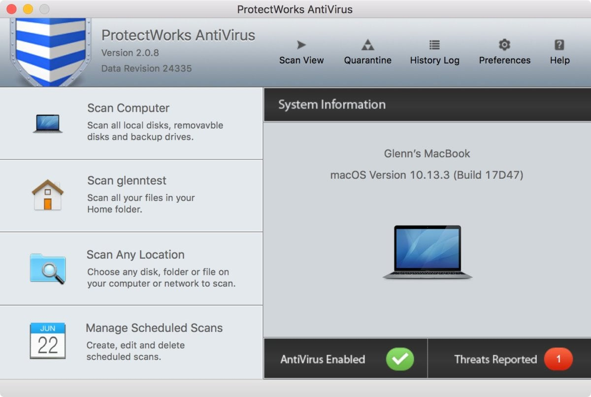 macav protectworks home screen