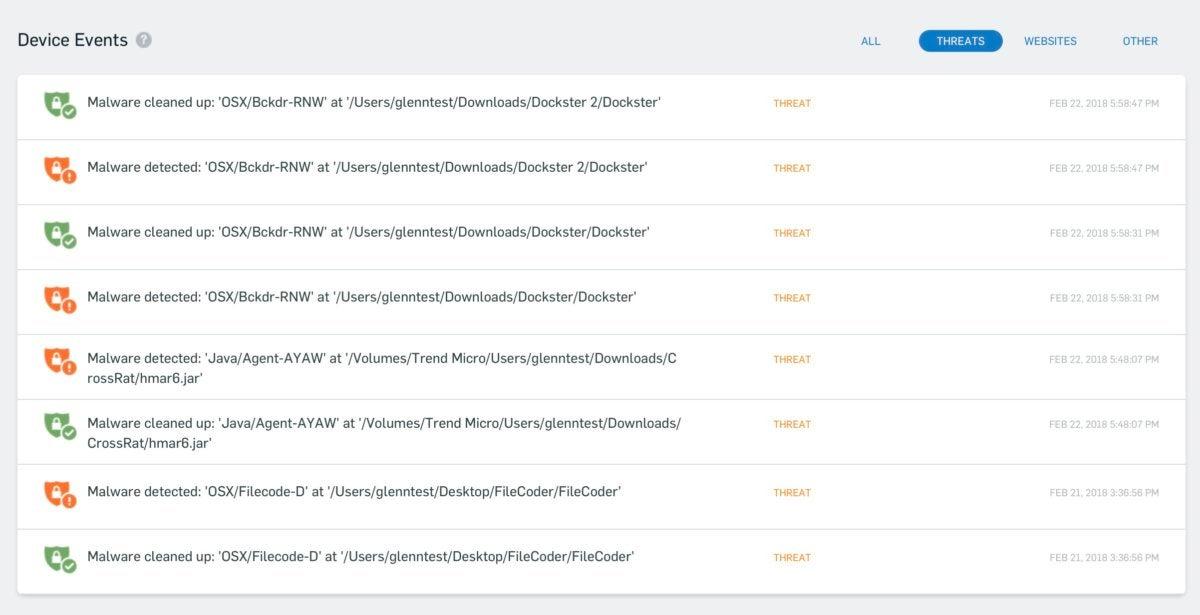 macav sophos threats blocked history