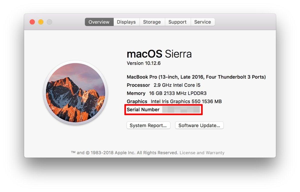 macbook pro find serial number