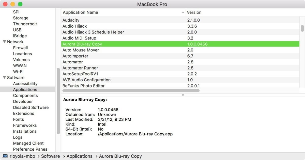 macos system report 64 bit check.jog