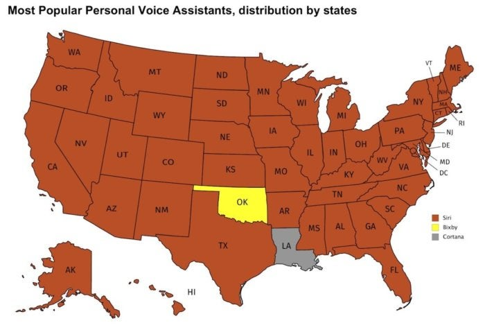 most popular voice assistants by state