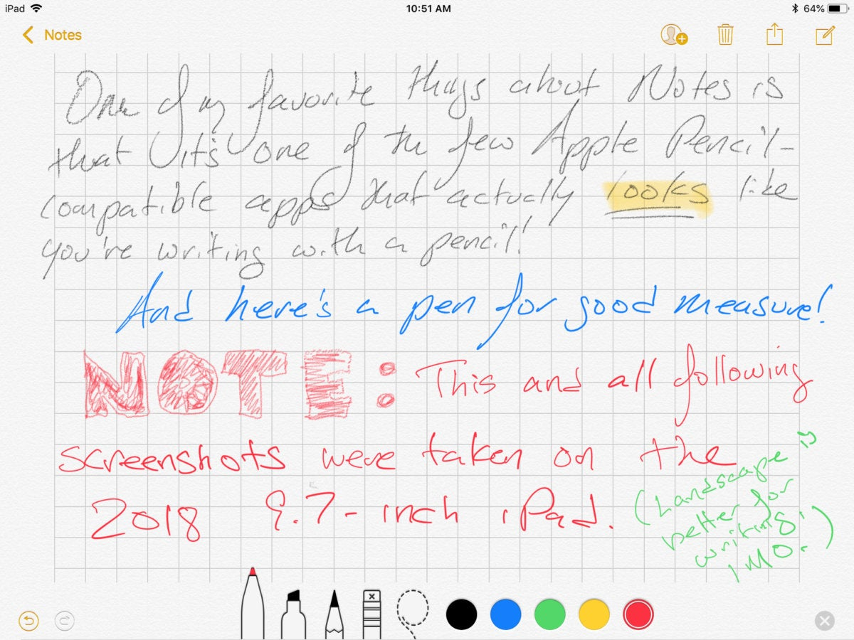 Apple Pencil in iOS Notes App