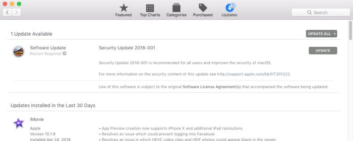 security update 2018 001 macos