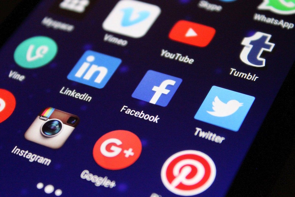 social media app icons on a mobile phone
