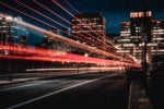 speed: light trails along a city street at night