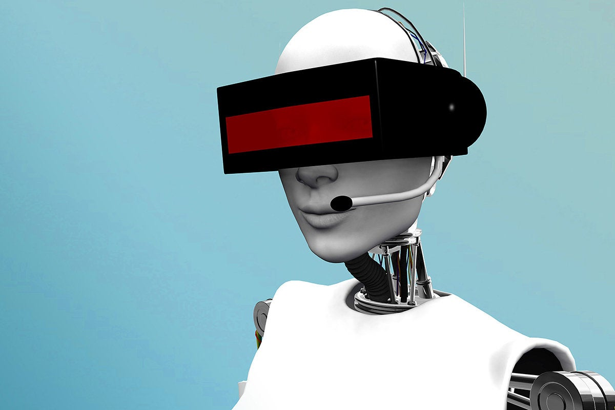 futuristic robot with headset