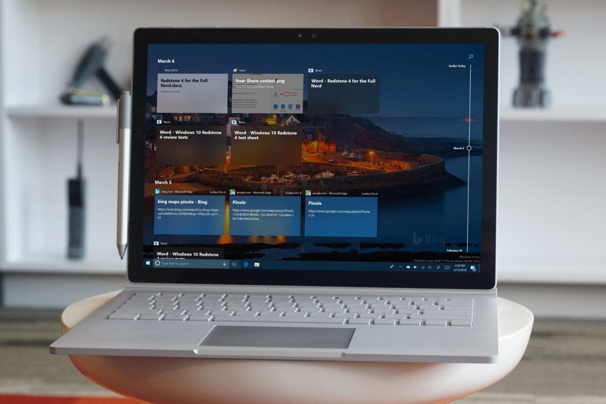 surface windows 10 timeline
