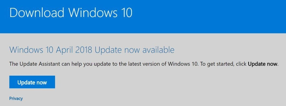 windows 10 april 2018 upgrade assistant