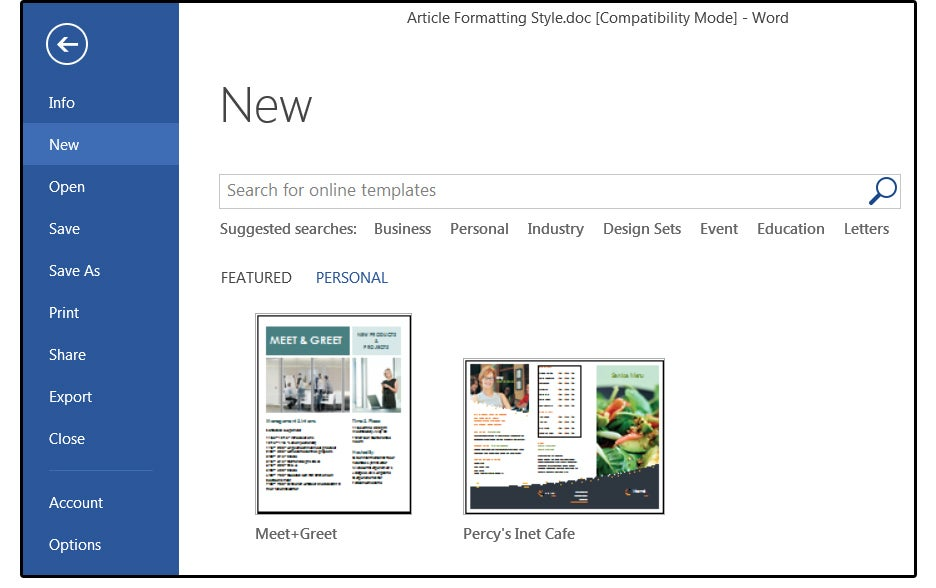how to create new template in word