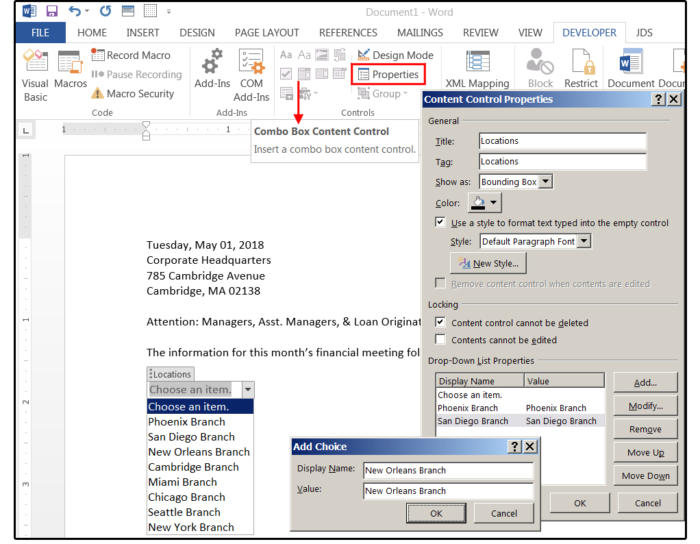 08 create a combo box control so users can select options from a list