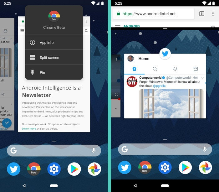 Android P Gesture Navigation: Split-screen