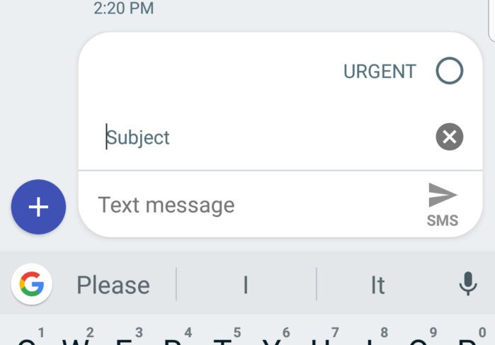 android messages subject