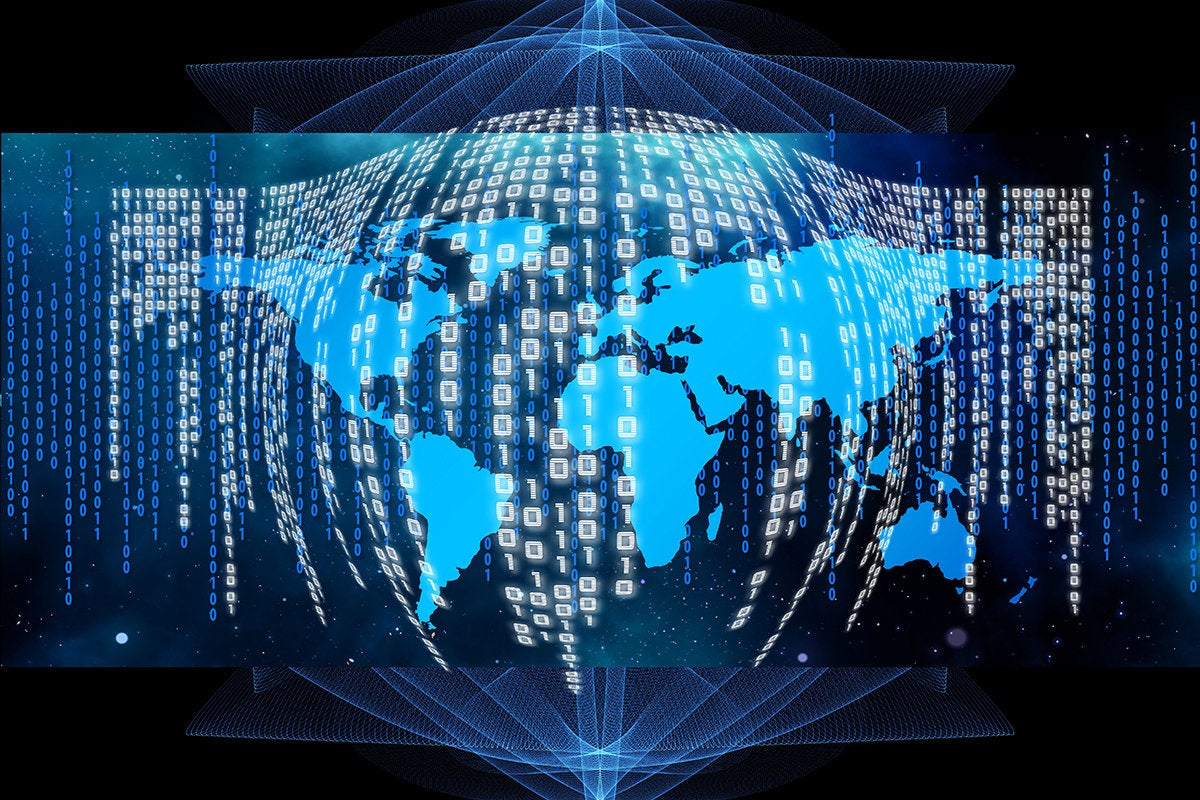binary code spanning a world map