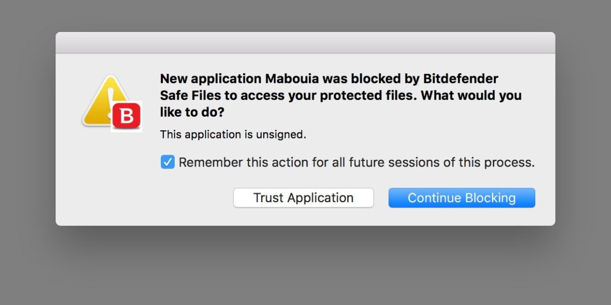 bitdefender safe files blocking dialog