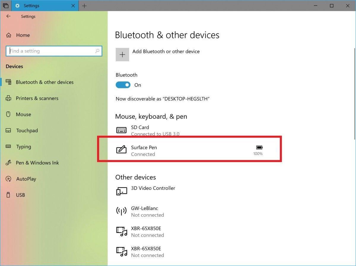 Microsoft Windows 10 Redstone 5 bluetooth battery