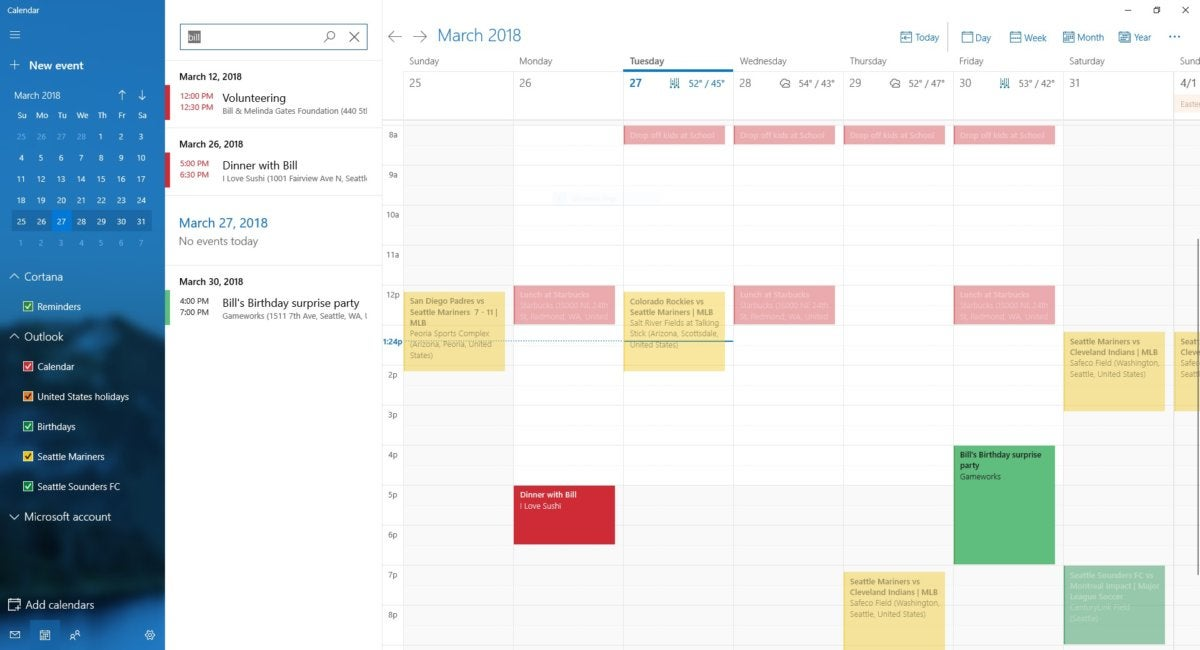 Microsoft Windows 10 Redstone 5 calendar search