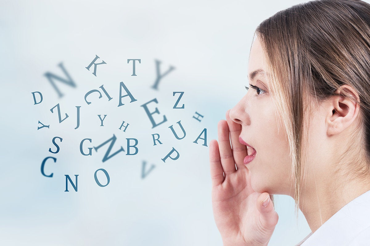 Conceptual images of a woman speaking in a stream of abstract letters.