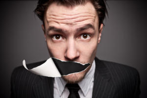 Conceptual images of a man with a torn-paper effect obscuring his mouth.