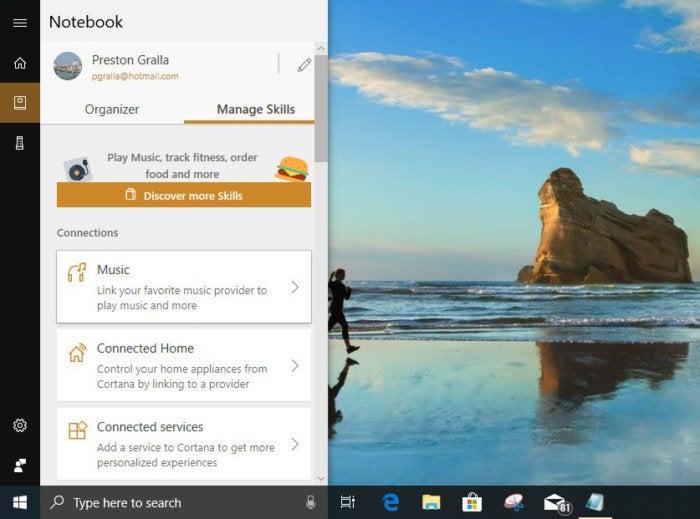 Cortana manage skills