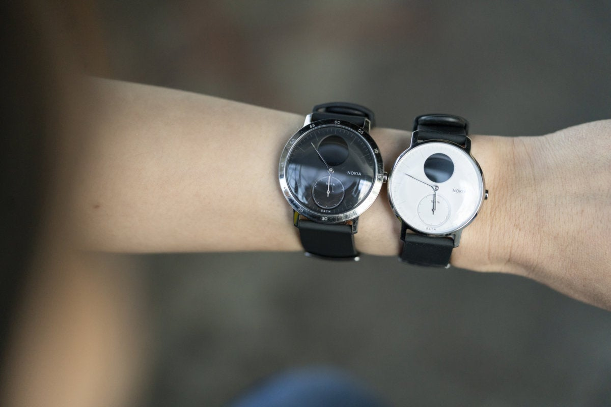 Nokia Steel HR 36mm and 40mm on wrist side by side