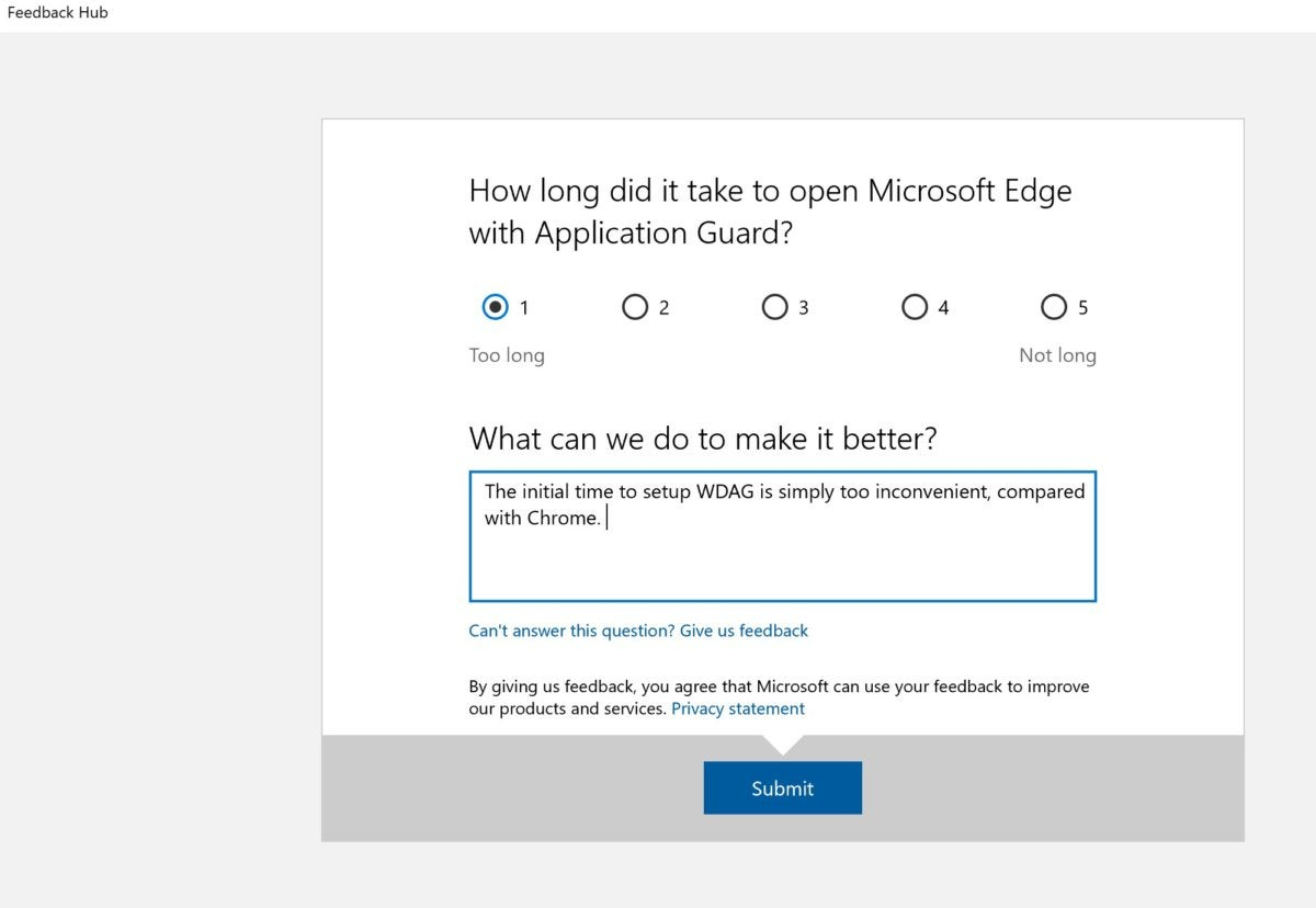 edge feedback wdag Windows 10