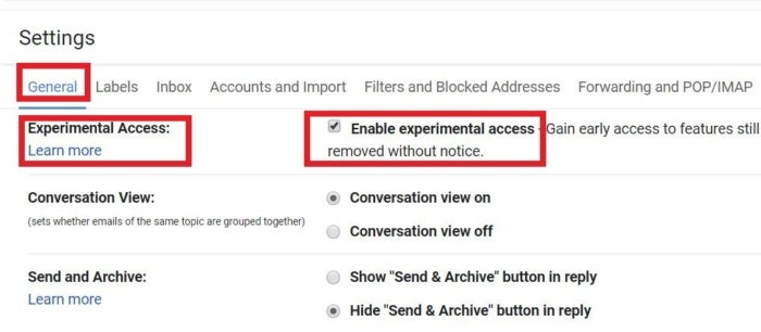 gmail experimental settings