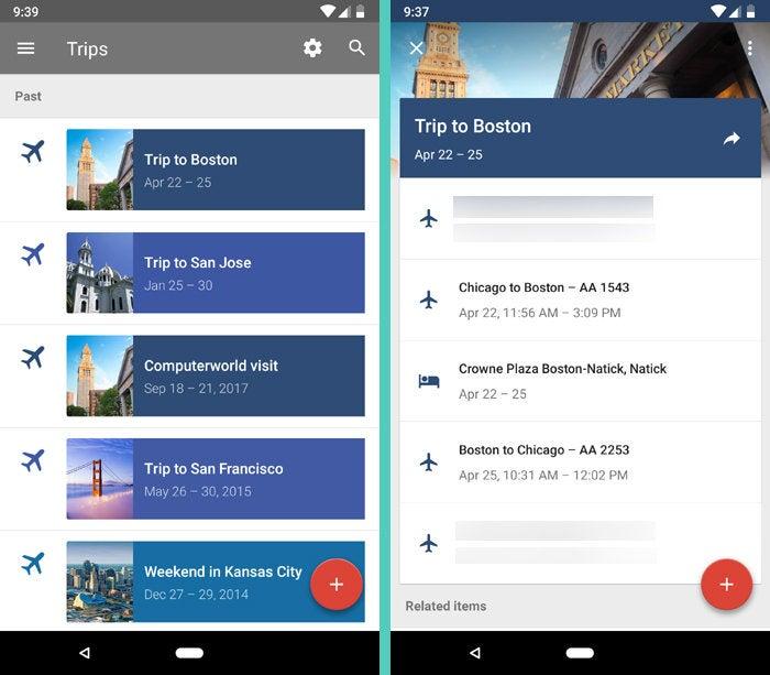 Gmail vs. Inbox - Trips