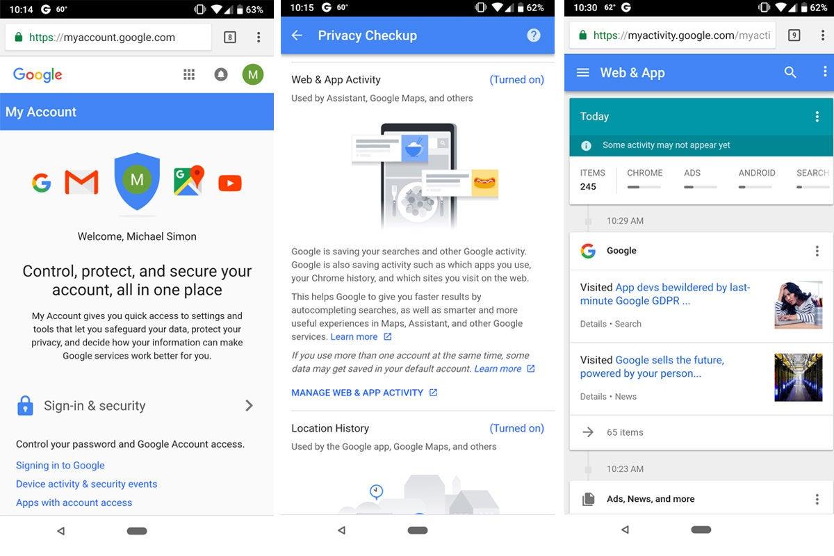 google privacy activity