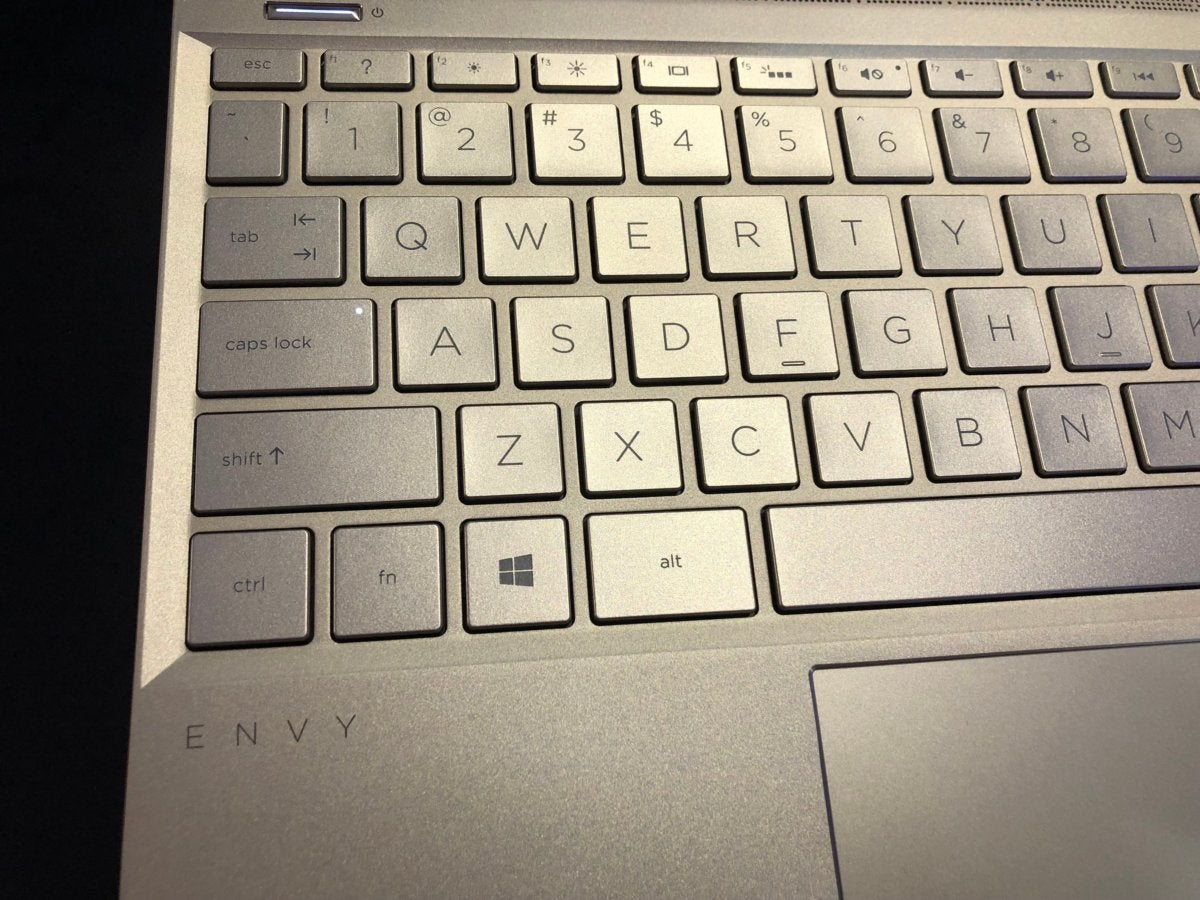 hp envy 13 keyboard detail
