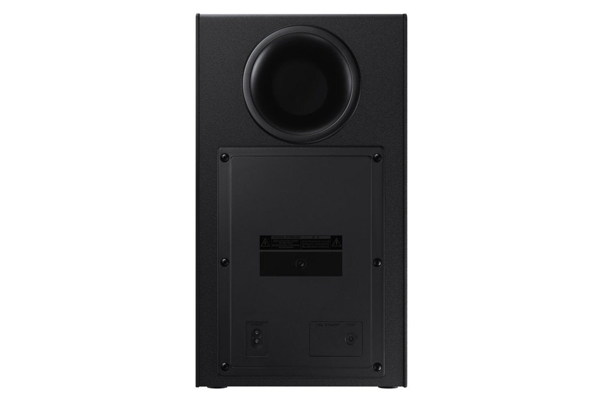 The wireless subwoofer is a rear-ported design and easy-to-place in any decor.