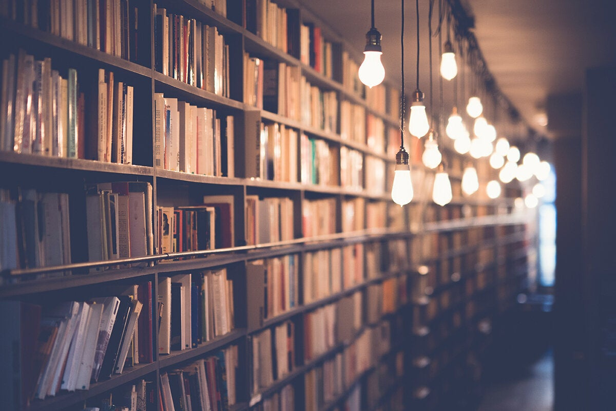 library / repository / archive / books on shelves