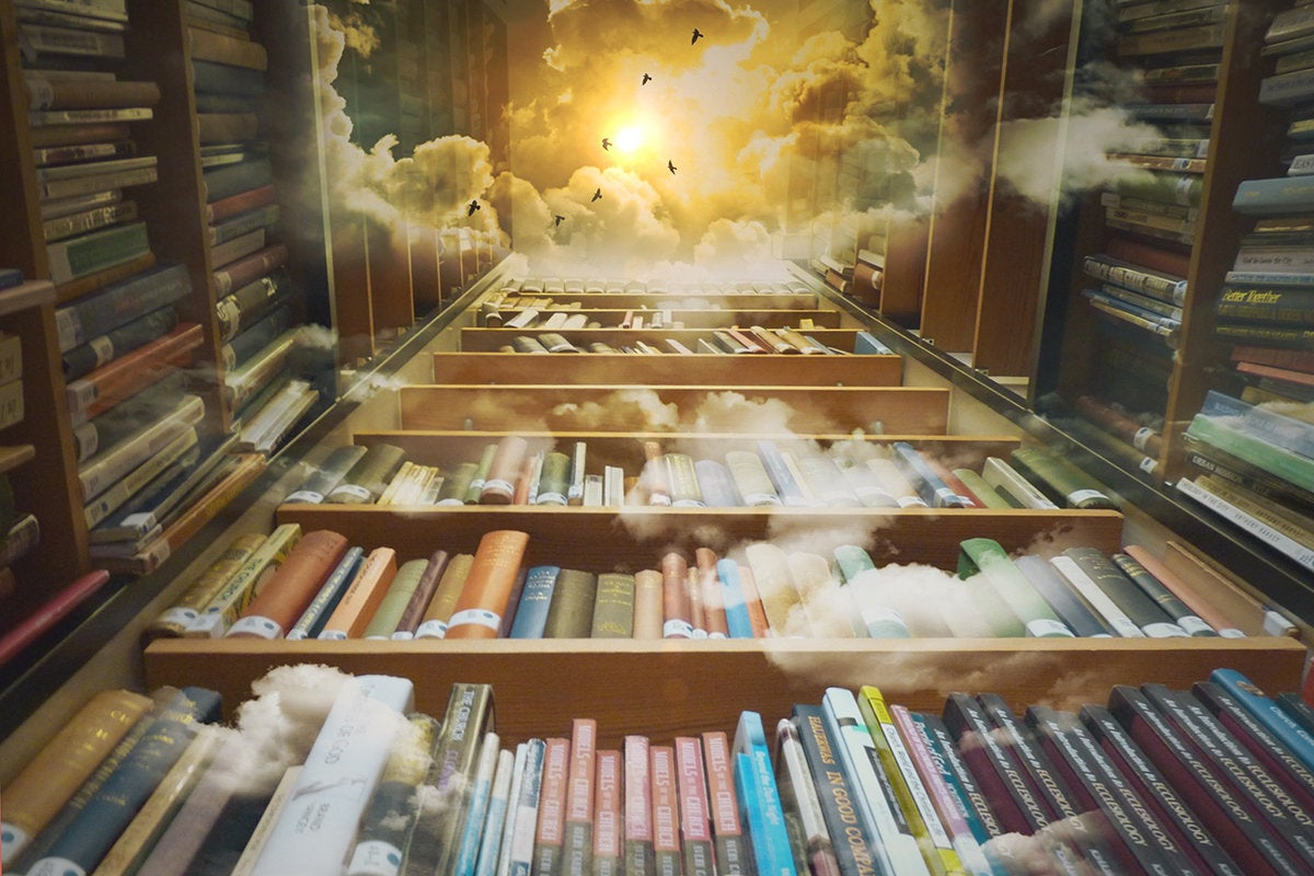 library books, shelves / repository / clouds