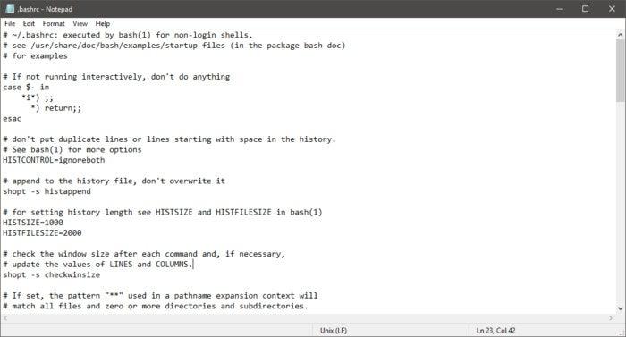 Microsoft Windows 10 Redstone 5 line endings for notepad