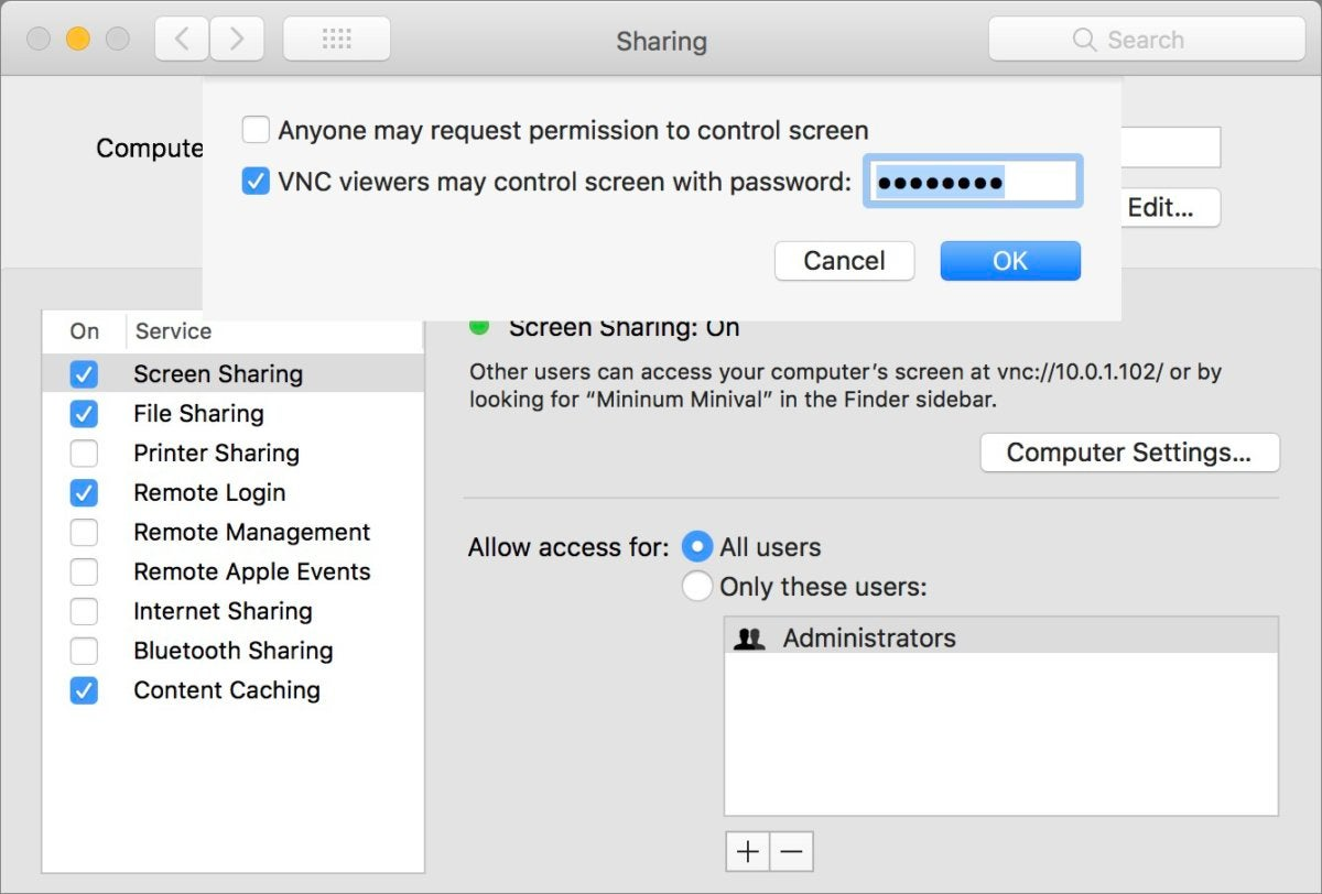 mac911 sharing vnc password