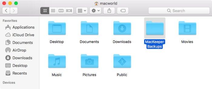 mackeeper backups folder