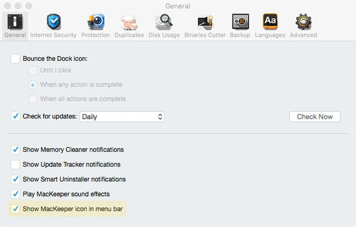 mackeeper v.3.20 preferences menu bar