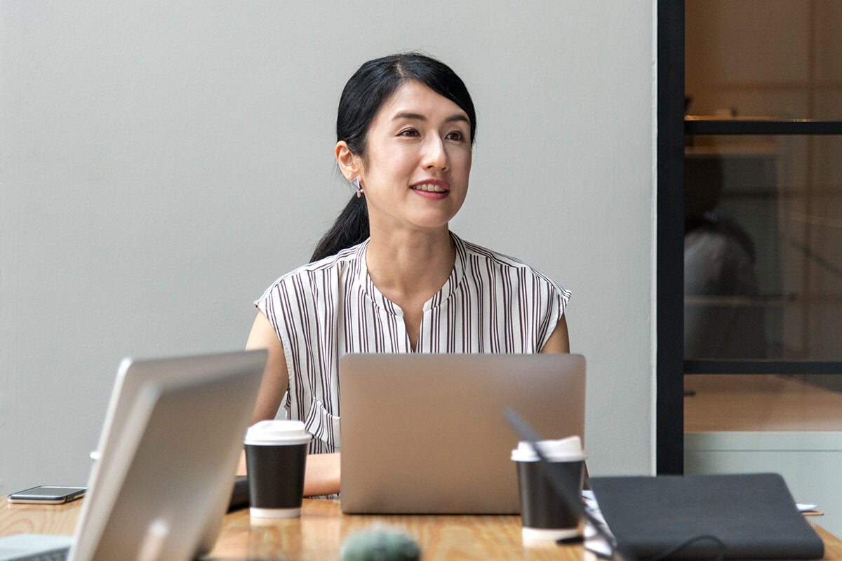businesswoman engaged in meeting discussion